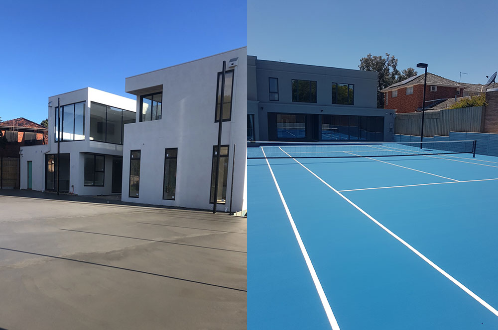 Ultracourts - Tennis Court Accessories - New Court Before & After