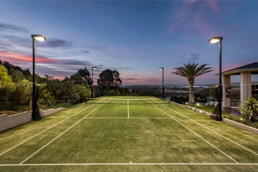Ultracourts Tennis Court Builders - Tennis Court Lighting - Stackstone Wall with Lights