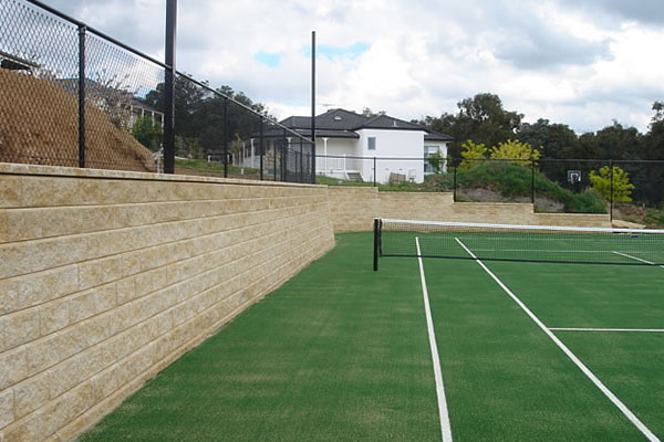 Ultracourts Tennis Court Builders - Stepped Retaining Wall